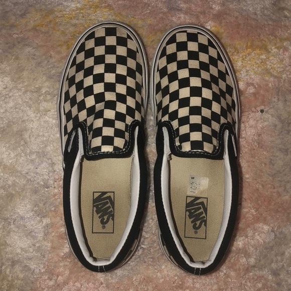 black and white checkered vans boys